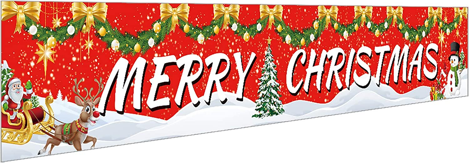 Ushinemi Merry Christmas Banner Xmas Party Decorations for Outdoor Outside Yard Decor Sign, 9.8X1.6 Feet