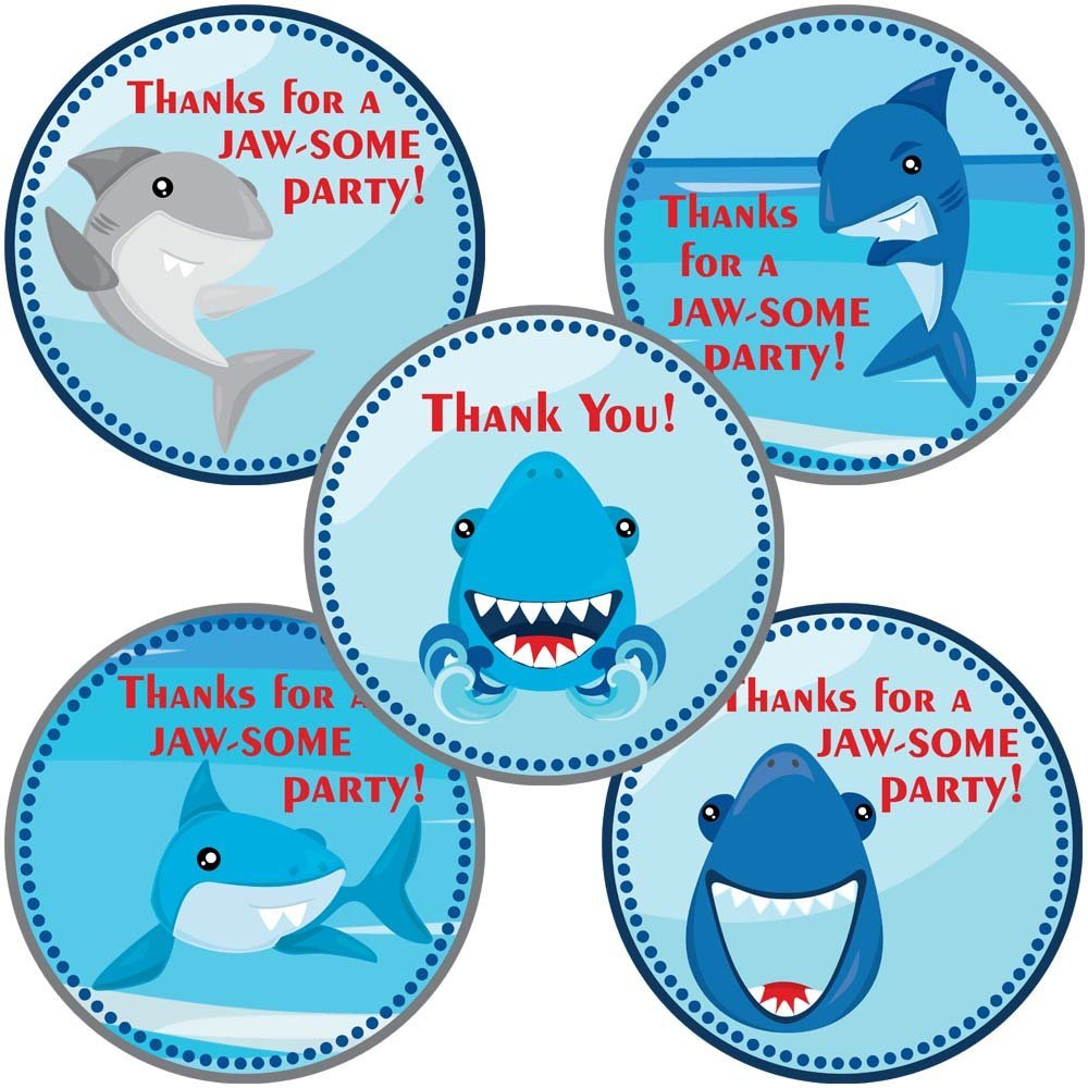 Shark Fish Sticker Labels - Birthday Party Favors and Envelope Seals - Set of 50