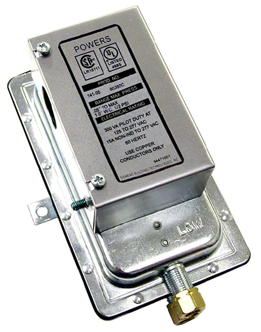 Siemens 141-0574 Differential Static Pressure Airflow Switch, Auto Reset Action, Silver