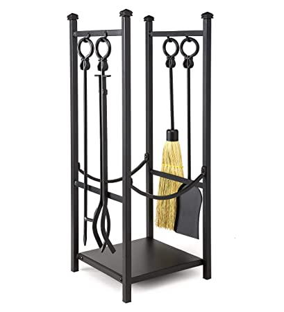 Plow Hearth Fireplace Tool Set With Wood Rack Durable Steel