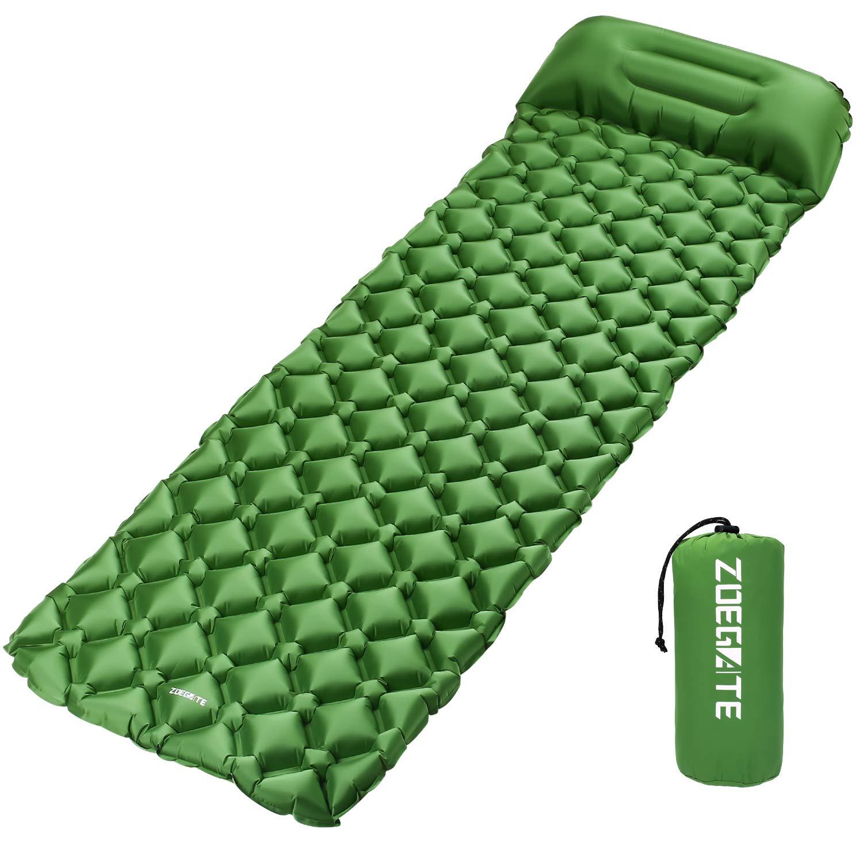 Speedsporting Inflatable Sleeping Mat Pillow, Ultralight Sleeping Pad Folding Camping Air Mattress Inflatable Roll Mat Compatible Hammock Tent sleeping bag Hiking, Traveling Beach Lawn Backpacking Tent (Blue pillow)