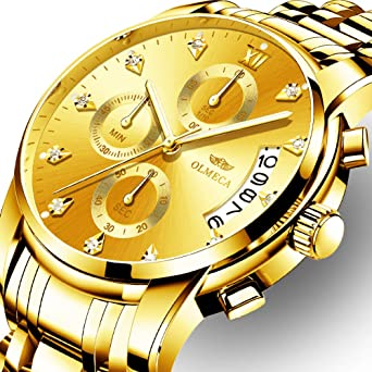 OLMECA Mens Watches Luxury Rhinestone Wristwatches Waterproof Gold Watch Fashion Quartz Watches Stainless Steel Watch