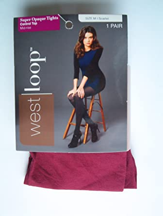 e61ddc1aaadbe West Loop Control Top Mid-Rise Super Opaque Tights, Scarlet, Large ...
