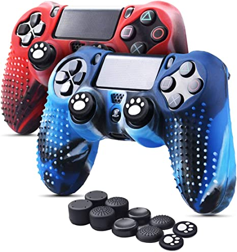 6amLifestyle Funda Protectora Antideslizante de Silicona para Mando PS4, Carcasa para Sony PS4 / PS4 Pro / PS4 Slim Controller (Rojo + Azul 2 Fundas de Mando PS4 + 10 Thumb Grips PS4): Amazon.es: Electrónica