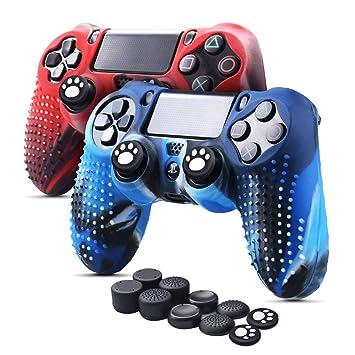 6amLifestyle Funda Protectora Antideslizante de Silicona para Mando PS4, Carcasa para Sony PS4 / PS4 Pro / PS4 Slim Controller (Rojo + Azul 2 Fundas ...