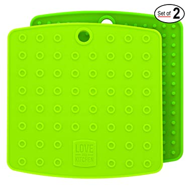 Premium Silicone Trivet Mats/Hot Pads, Pot Holders, Spoon Rest, Jar Opener & Coasters - Our 5 in 1 Kitchen Tool is Heat Resistant to 442 °F, Thick & Flexible (7  x 7 , Lime Green, Set of 2)