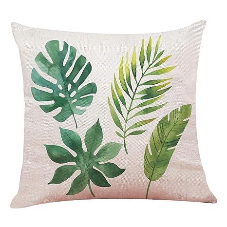 Lenfesh Fundas de Cojines Almohada de Plantas Tropicales Hoja Verde Decorativos Diseño para Sillas Camas Sofás Sofás (F)