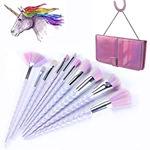 YA MI Unicorn Makeup Brushes Set Fantasy Makeup Tools Foundation Eyeshadow Unicorn Brushes Kit With Case (10Pcs)