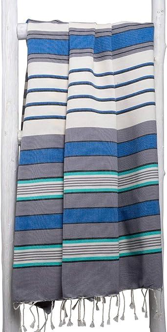 ZusenZomer Fouta XL Casablanca -Toalla Hammam Ligero Toalla de Playa 100% Algodón, Suave - Foutas Playa Comercio Justo (200x200 cm, Azul, Gris, Ecru): Amazon.es: Hogar