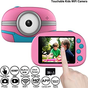 DOOK WiFi Kids Camera, Digital Camera Selfie and Video Camera with 40MP/ HD 1080P/ 2.8 inch Touch Screen/ 32GB Micro SD Card, Birthday Gift for Boys Girls(Pink)