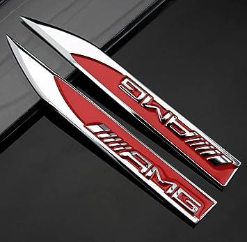 Pack Von 2 Chrome Aufkleber Embleme Mercedes Benz Amg Logo Chrome Badge Auto Emblem Kotflügel Red Silber Sport Auto Metall Aufkleber Aufkleber