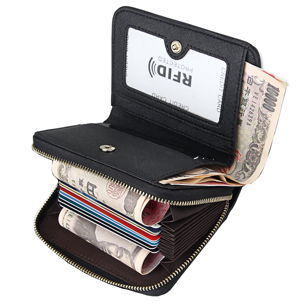 Beurlike Women's RFID Credit Card Holder Organizer Case Leather Security Wallet (Style2 - Black)