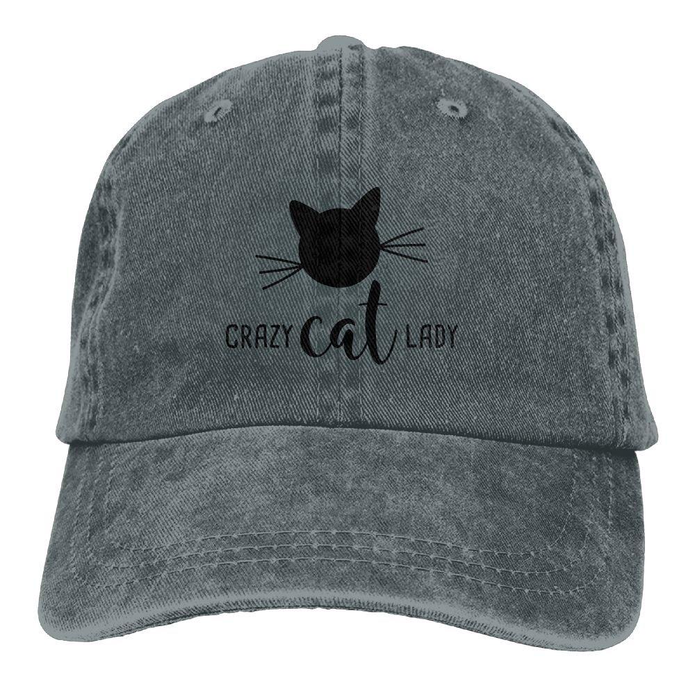 Crazy Cat Lady Plain Adjustable Cowboy Cap Denim Hat for Women and Men