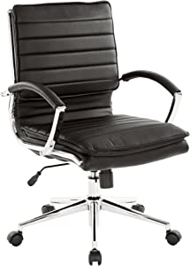 Office Star Faux Leather Mid Back Managers Chair with Loop Arms and Chrome Base, Black
