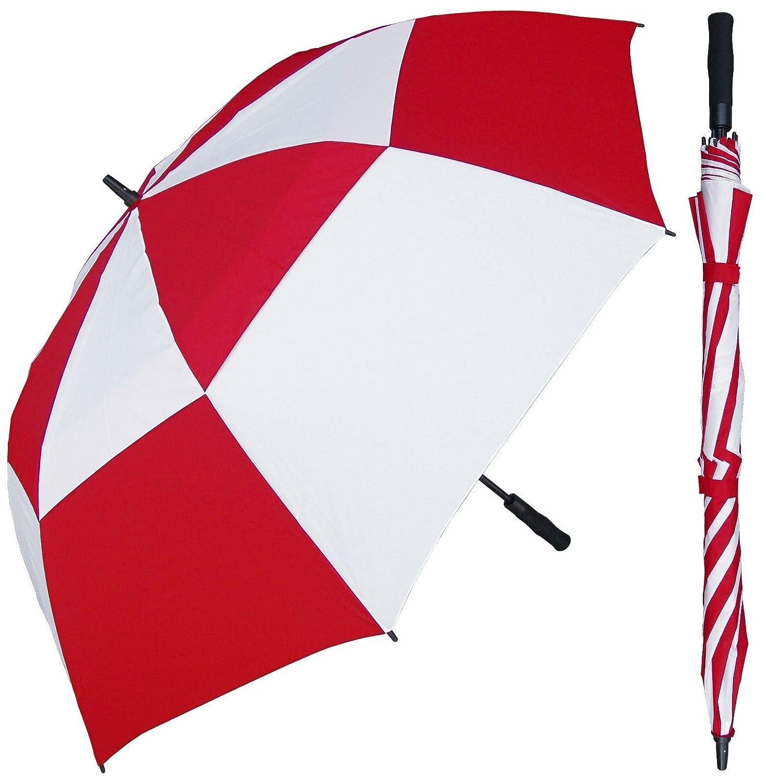 68インチLargeレッド&ホワイト交互ゴルフ傘 – 自動オープンボタン – ファイバーグラスシャフトとフレーム – Vented防風Stick Umbrellas   B07D3T484T