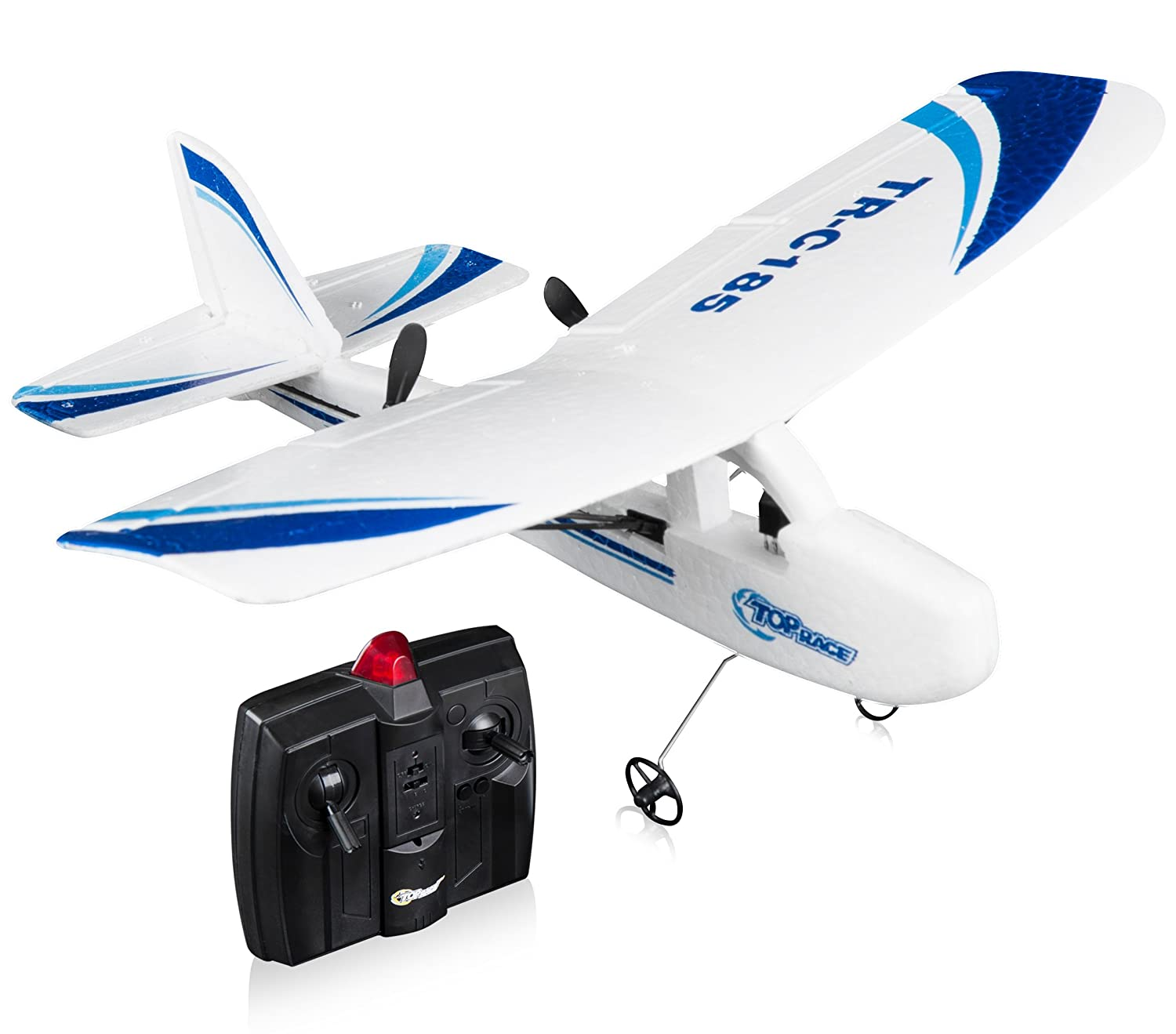 Top Race Cessna C185 Electric 2 Channel Infrared Remote Control RC Hobby  Aeroplane with 3 Wheels, Double Propeller and Night Strobe Light Easy To  Fly