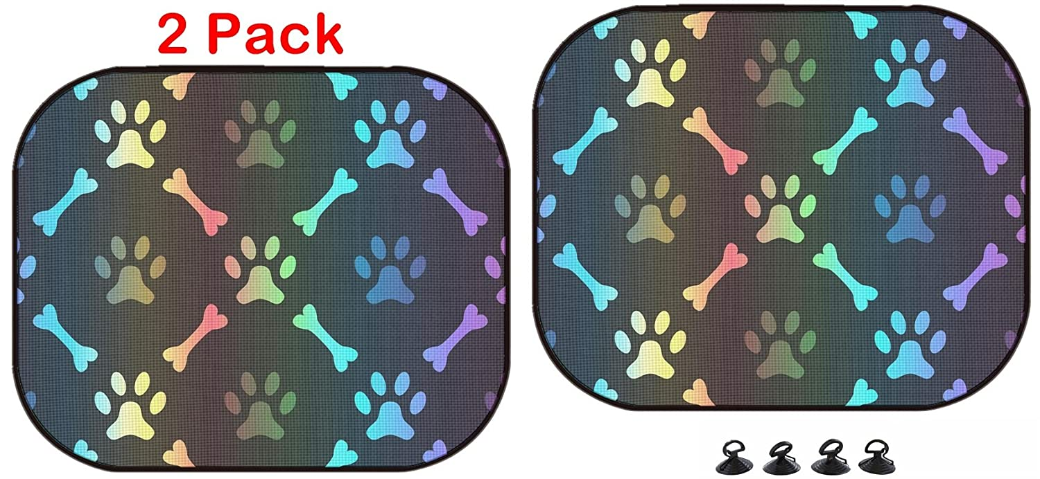 2 Pack Image ID 36665935 Animal Spectrum Seamless Vector Pattern of paw Footprint and Luxlady Car Sun Shade Protector Block Damaging UV Rays Sunlight Heat for All Vehicles