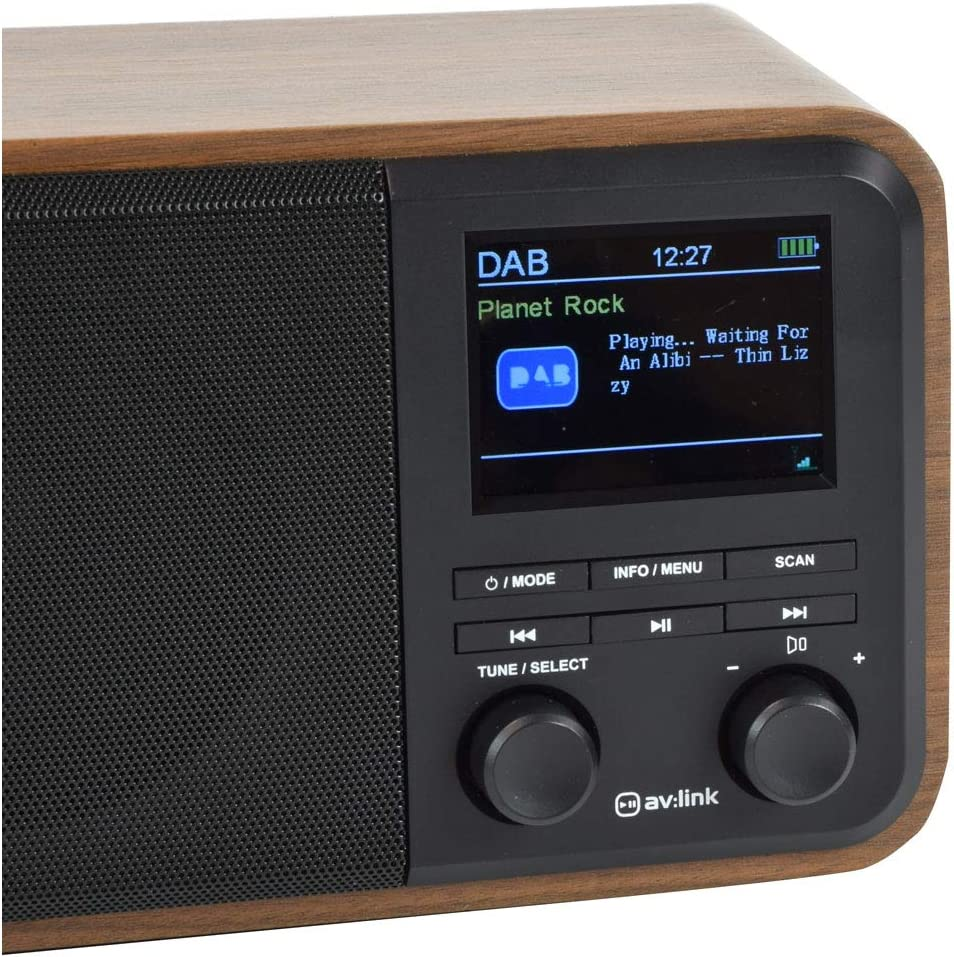 AV:Link Bluetooth Connectivity and Colour Display Radio Wooden Finish Rechargeable DAB