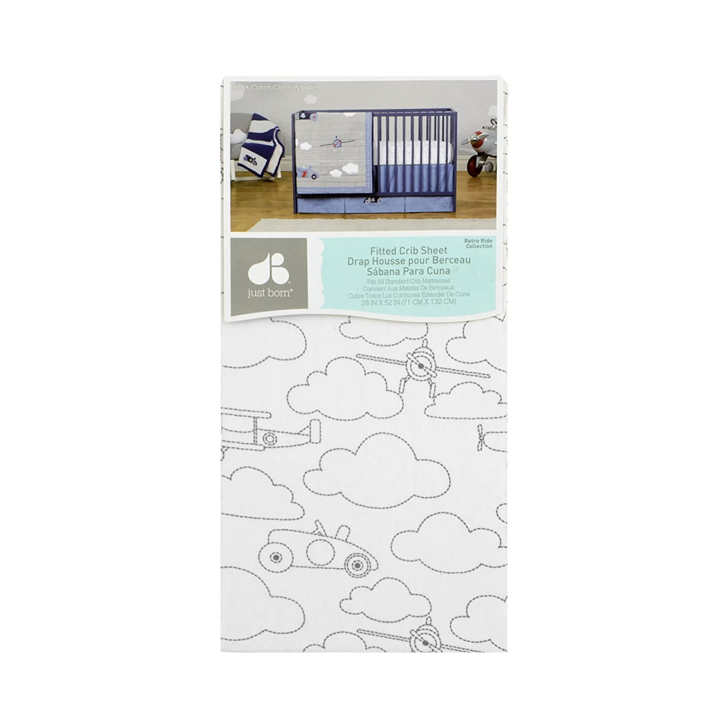 Amazon.com : Just Born Cotton Fitted Crib Sheet, Grey Gramercy Dot : Baby