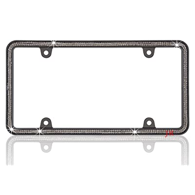 JR2 500 Super Bling Grey Glass Crystals Black Metal License Plate Frame+Free Caps (Grey): Automotive