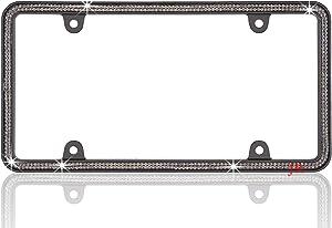 JR2 500 Super Bling Grey Glass Crystals Black Metal License Plate Frame+Free Caps (Grey)