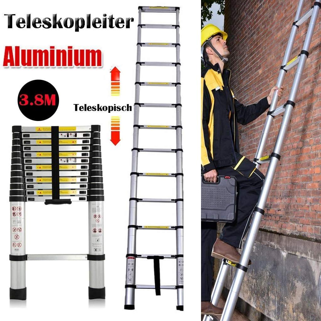 Escalera telescópica de 3,8 peldaños, escalera extensible, 12 peldaños – 87 cm hasta 3,80 m, 150 kg de carga de aluminio de alta calidad, portátil, antideslizante: Amazon.es: Bricolaje y herramientas