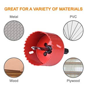 Bi-Metal Hole Saw Kit, SUNGATOR 14-Piece General Purpose 3/4 to 2-1/2 Set with Case. Durable High Speed Steel (HSS). Fast Cut Clean, Smooth and Precise Holes Through Metal, Wood, Plastic, Drywall.