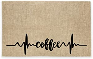 Rustic Burlap Coffee Bar Mat -Coffee Theme Vintage Placemat Easy to Clean - Natural Jute Coffee Maker Mat for Coffee Bar Home Decor Parties Daily Use