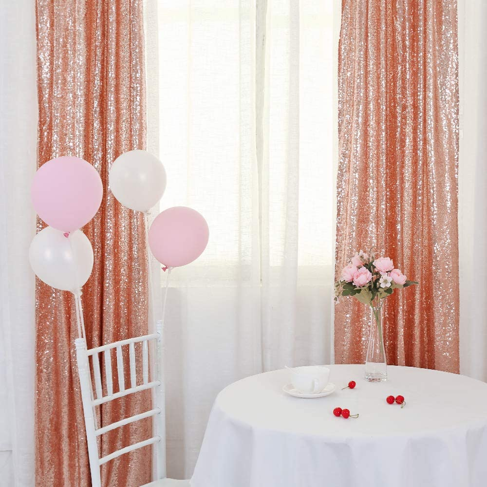 TRLYC Backdrop Curtains Panels for Weddings Sequin Window Drapes (Two Panels,2x8FT,Rose Gold)