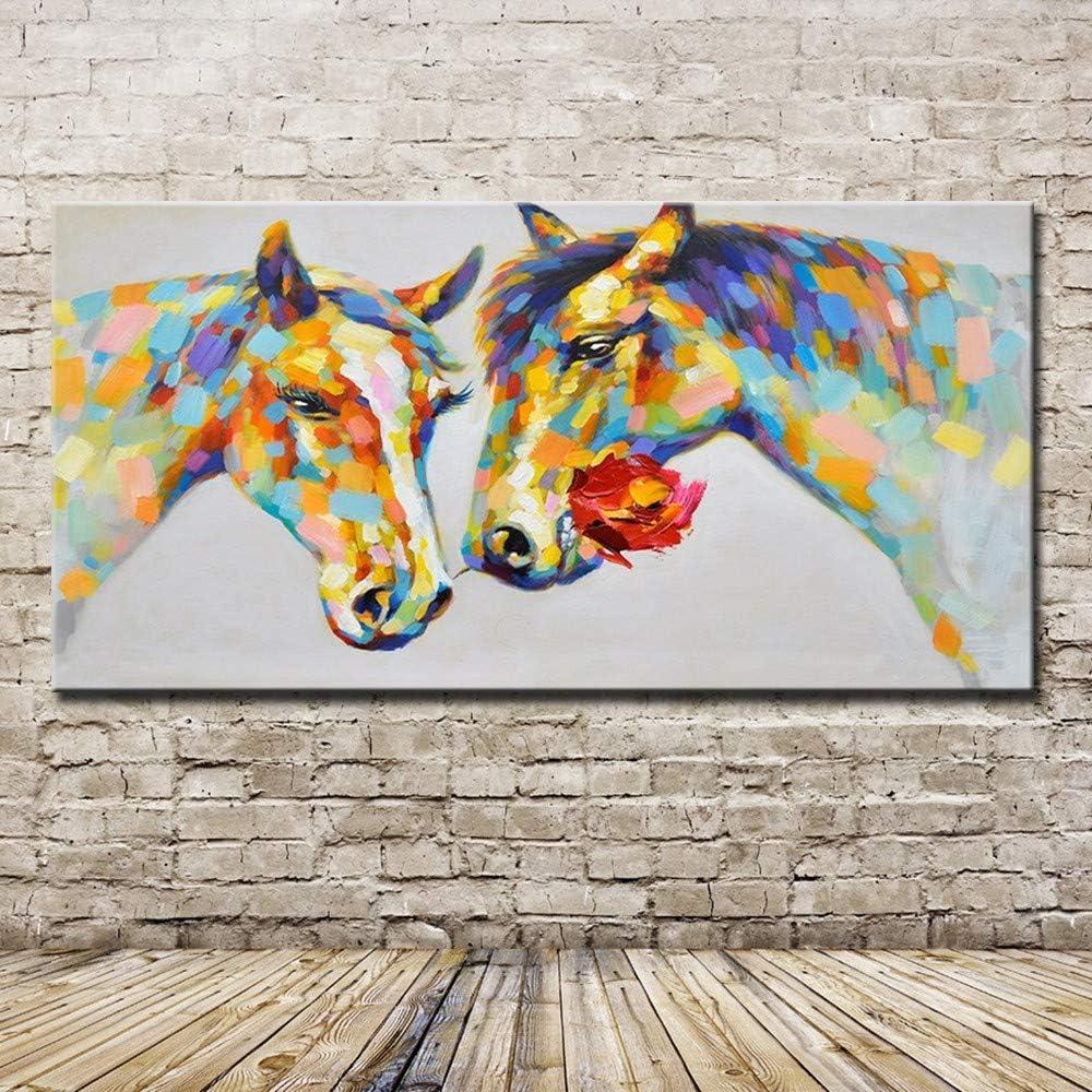 YHXIAOBAOZI Pinturas Al Pintura Al Óleo Pintado A Mano,Pinturas Al Óleo Pintado A Mano Casarse Caballo Amarillo Animales Modernos Cuadros De Pared para El Salón De Arte De Pared 80×160Cm,