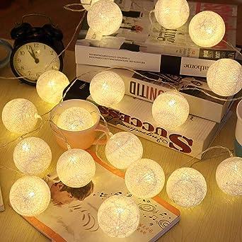 Guirnalda de luces LED, de Elinkume, con 20 bolas de algodón, 3,3 m, funciona con pilas, luz blanca cálida: Amazon.es: Iluminación