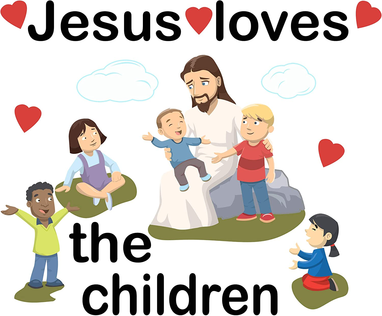 Amazon Com Create A Mural Jesus Loves The Children Wall Decals For Church Classroom Decoration Nursery Art Decor Stickers Christian Bible Verse Kids Ministry Room Vinyl Peel N Stick Home Kitchen
