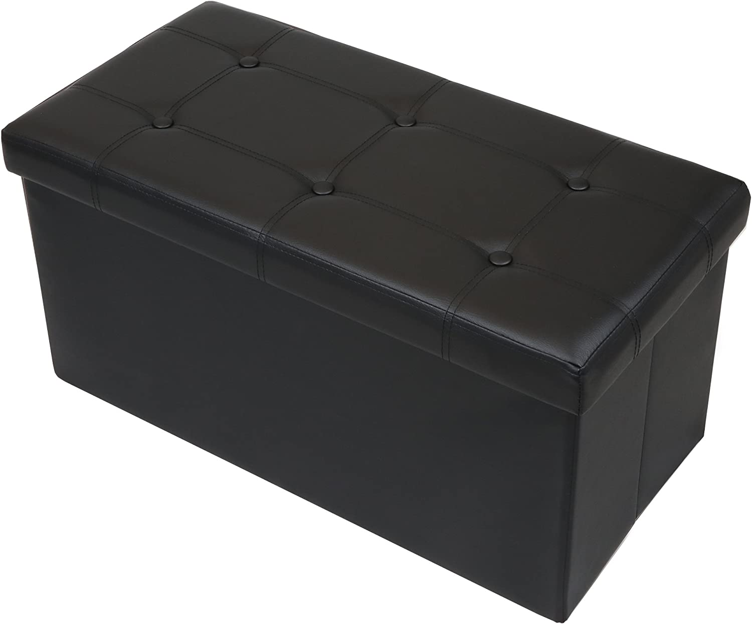 "Otto & Ben 30"" Storage Folding Toy Box Chest with Memory Foam Seat Tufted Faux Leather Trunk Bedroom Ottomans Bench Foot Rest Stool, 30 Inch, Button Black"