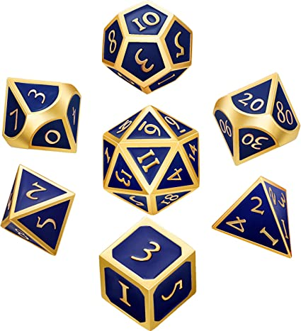 Hestya 7 Pieces Metal Dices Set DND Game Polyhedral Solid Metal D/&D Dice Set with Storage Bag and Zinc Alloy with Enamel for Role Playing Game Dungeons and Dragons Math Teaching Silver Edge Red