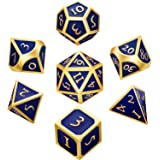 (Blue) - Hestya 7 Pieces Polyhedron Dice Set Multi-Sided Metal Game Dice with Storage Bag (Blue)