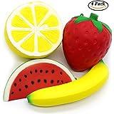 4-teiliges Squishy-Set, große Obstformen (Erdbeere, Wassermelone, Banane, Zitrone), niedlich, superweich, Kawaii-Design, Anhänger, Anti-Stress-Spielzeug, tolles Geschenk für Kinder und Erwachsene