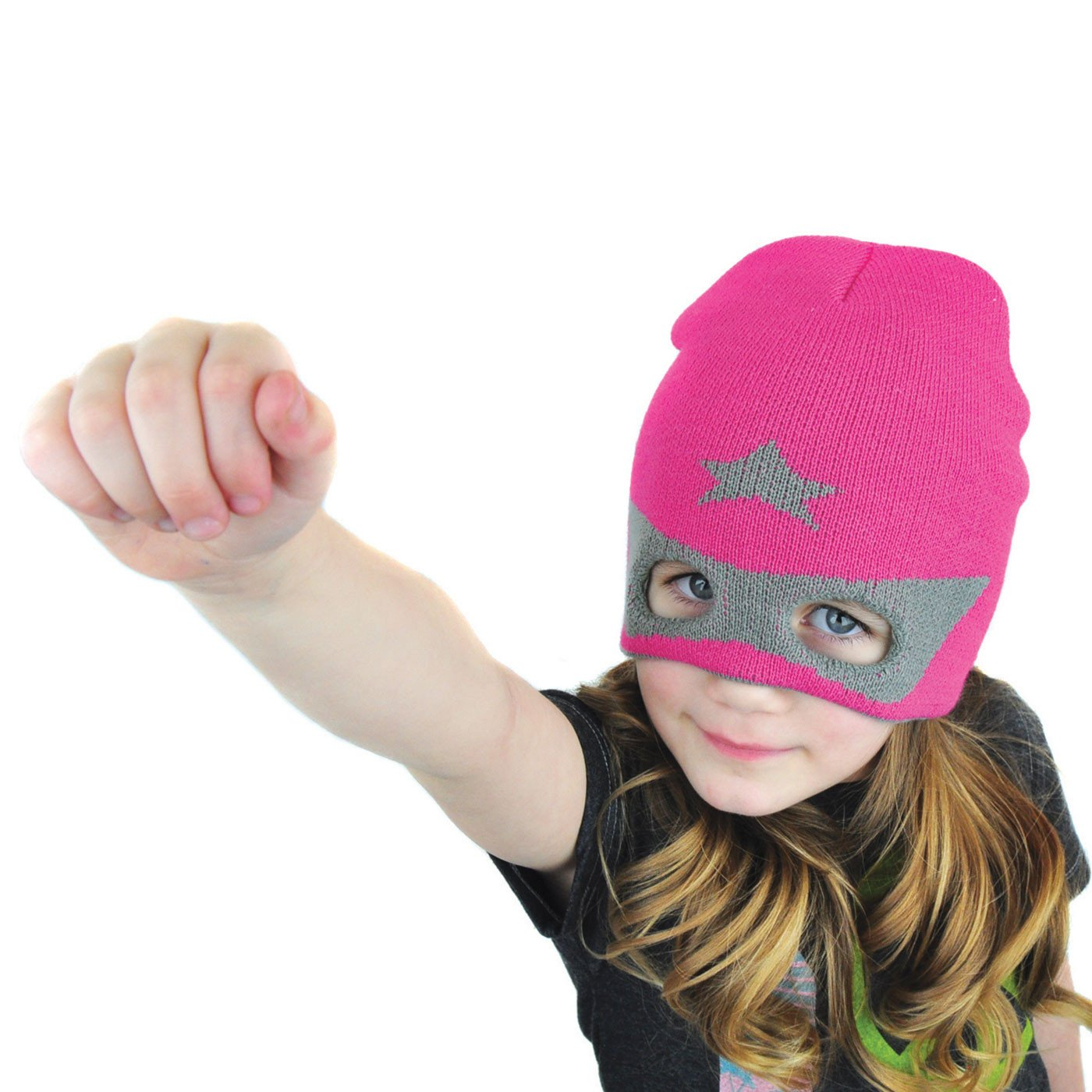 Girls Super Hero Beanie Mask Hat Pink - Neon Eaters - Cute Winter Hat, Fun Toque NeonEaters