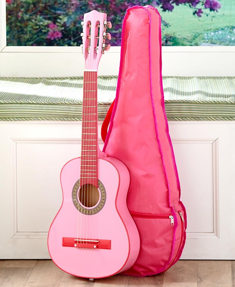 Kids Wood Guitar W/Case-Pink by GetSet2Save