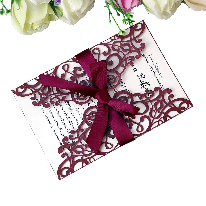 PONATIA 25PCS Laser Cut Hollow rose with drill Invitation Card Wedding Bridal Shower Engagement Birthday Graduation Invitation Cards (Burgundy)