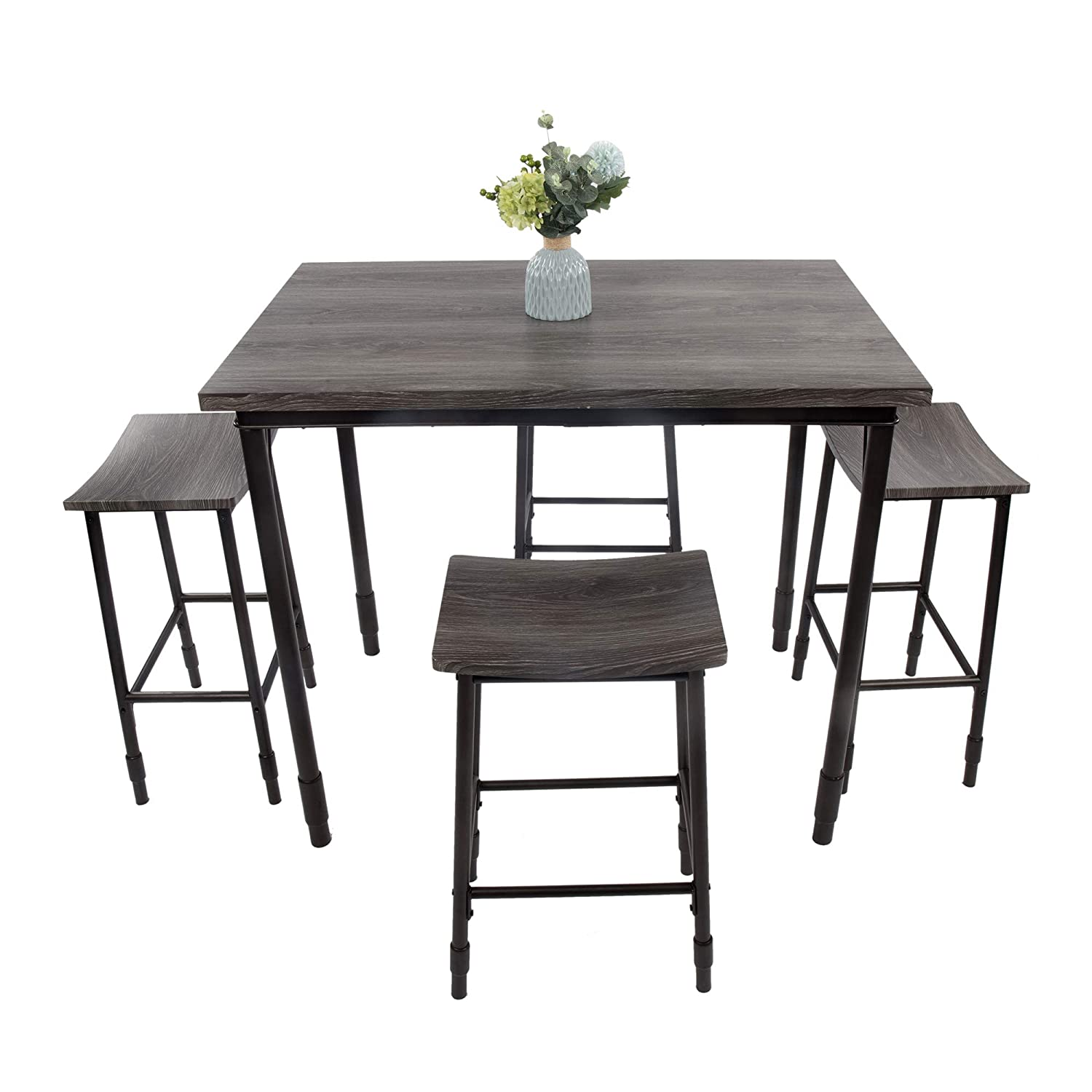 LUCKYERMORE 5 Piece Bar Kitchen Table Set and Chairs for 4 Counter Height Dining Table with 4 Backless Bar Stools Sturdy Durable Dining Furniture, Black
