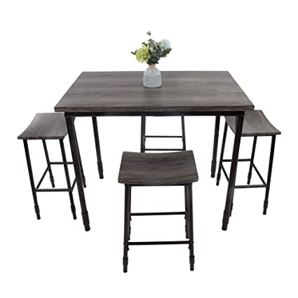 Amazoncom Luckyermore 5 Piece Bar Kitchen Table Set And Chairs