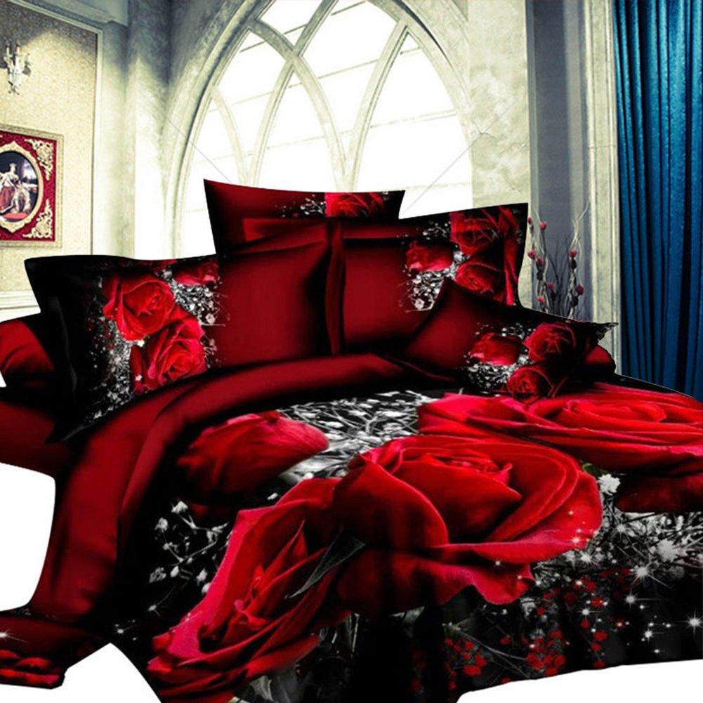 2 2 3m Set Lenzuola Matrimoniali Lenzuola Federe Set Letto 3d Big Red Rose Floral Lanlan Set Da 4 Pezzi Di Biancheria Da Letto In Cotone Stampato Set Di Lenzuola E Federe Tessili Per