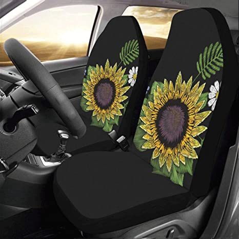 Strange Artsadd Sunflower Daisy Fabric Car Seat Covers Set Of 2 Best Automobile Seats Protector Andrewgaddart Wooden Chair Designs For Living Room Andrewgaddartcom