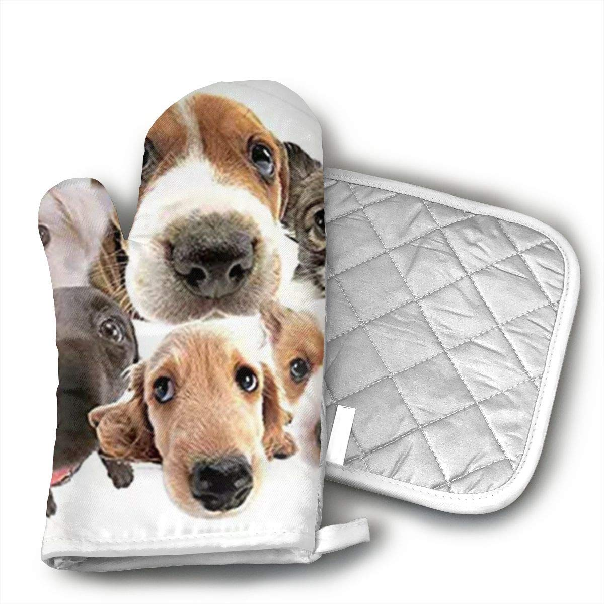 HAIQLK Animal Print Cute Dog Puppy Pug Oven Mitts Printing Cotton Lining, Kitchen Oven Gloves Pot Holder for Cooking, Barbecue Cooking Baking, Barbecue