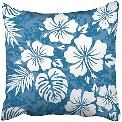 Amazon Throw Pillow Cover Square 40x40 Inches White Flower Amazing Hawaiian Pattern