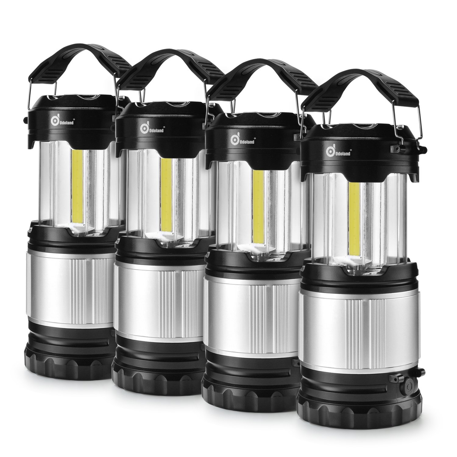 Odoland COB 4 Packs LED Lanterns, 300 Lumen LED Camping Lantern Handheld Flashlights, Camping Gear Equipment for Outdoor Hiking, Camping Supplies, Emergencies, Hurricanes, Outages