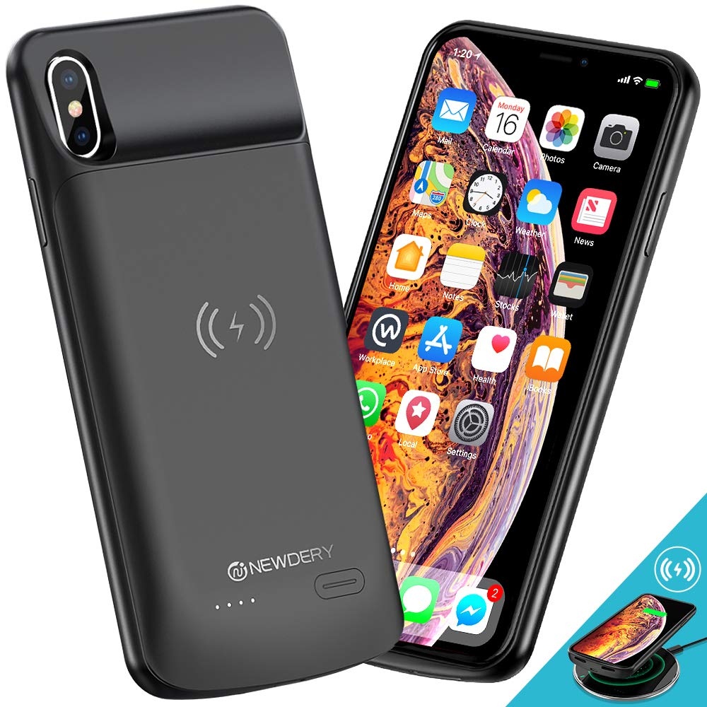 NEWDERY Upgraded iPhone Xs Max Battery Case Qi Wireless Charging, 6000mAh Extended Rechargeable Charger Case Compatible iPhone Xs Max (Black) by NEWDERY