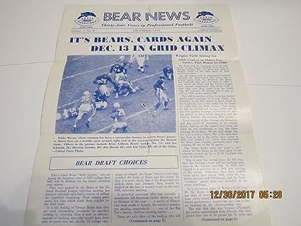 December 1953 Chicago Bears Bear News newsletter eddie Macon