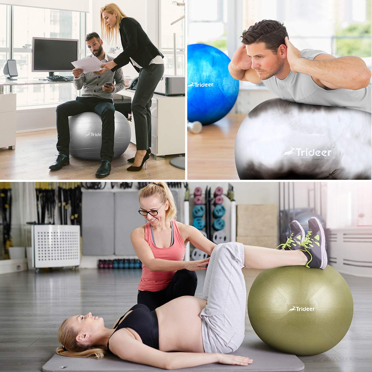 Trideer Exercise Ball (Multiple Color), Yoga Ball, Birthing Ball with Quick Pump, Anti-Burst & Extra Thick, Heavy Duty Ball Chair, Stability Ball Supports 2200lbs by Trideer (Image #3)