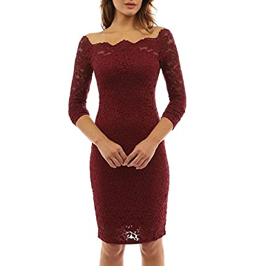 514789255f44c Anxihanee Women s Off Shoulder Twin Set Floral Lace Bodycon Cocktail Party  Dress (L